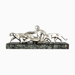 Art Deco Bronze Sculpture, Woman with Two Panthers, Michel Decoux, 1930s