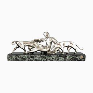 Art Deco Bronze Skulptur, Frau mit Zwei Panther, Michel Decoux, 1930er