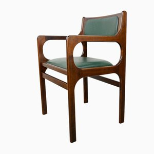 Wood and Dark Green Faux Leather Armchair, 1960s