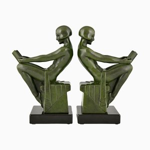 French Art Deco Bookends Depicting Reading Nudes by Max Le Verrier, 1930s, Set of 2