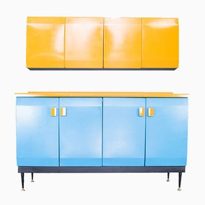 Metal Kitchen Cabinet Set, 1950s, Set of 2