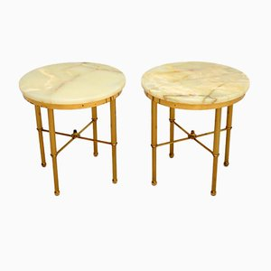 Tavolini vintage in ottone e onice, set di 2
