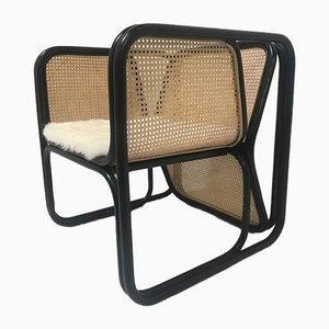 Großer Armlehnstuhl aus Rattan & Schilfrohr
