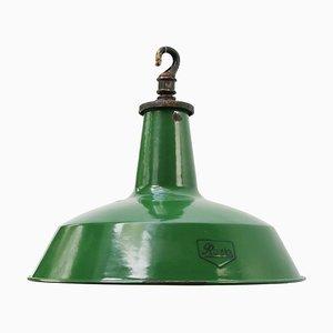 Britische industrielle Vintage Emaille Fabriklampe in Grün