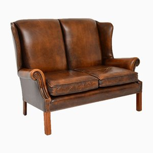 Vintage Georgian Style Leather Wingback Sofa