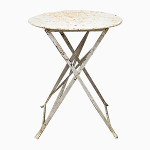 Round French Metal Outdoor Bistro Table, Circa 1930