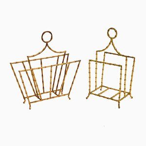 Vintage Brass Magazine Paper Racks, Set of 2