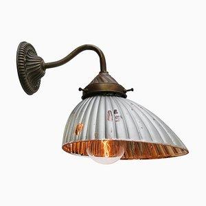 Vintage Industrie Wandlampe aus Messing, Gusseisen & Silberglas von GAL