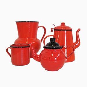 Kanne aus schwarzem und orange emailliertem Metall & Teekanne, 1950er, 4er Set