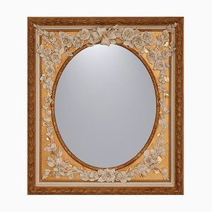 Vintage Ovale Fiorito Mirror in Porcelain & Wood Frame with Floral Decoration by Giulio Tucci