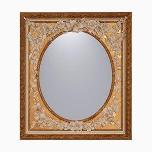 Vintage Ovale Fiorito Spiegel aus Porzellan & Holz mit floralem Dekor von Giulio Tucci