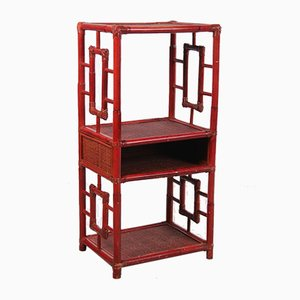 Antique Chinese Red Bamboo Shelf / Room Divider, 19th Century