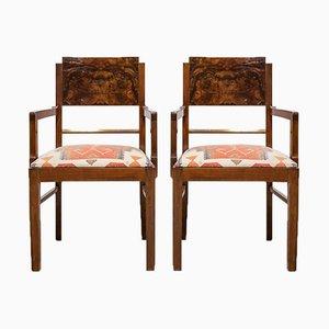 Art Deco Armlehnstühle aus Nussholz, 2er Set
