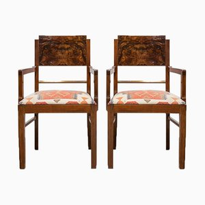 Art Deco Chairs with Arms in Walnut, Set of 2
