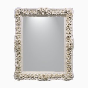 Vintage Rose Bianche Mirror in Porcelain & Wood Frame with Rose Decoration by Giulio Tucci