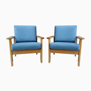 Blue Fabric Armchairs, 1960s, Set of 2