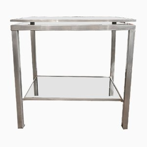 Console Table in Brushed Steel with 2 Smoked Glass Tops by Guy Lefevre, 1970s
