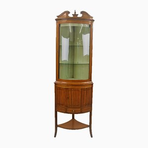 Satinwood Corner Display Cabinet, 19th Century