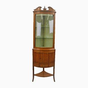 Vetrina ad angolo in legno satinato, XIX secolo