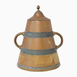 French Basque Decorative Zinc & Copper Water Holder / Herrade, 19th Century