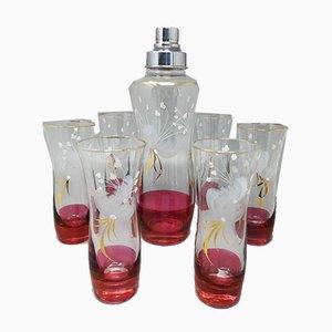 Italian Cocktail Shaker & 6 Glasses, 1960s, Set of 7