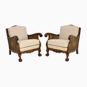 Antique Swedish Satin Birch Bergere Armchairs, Set of 2