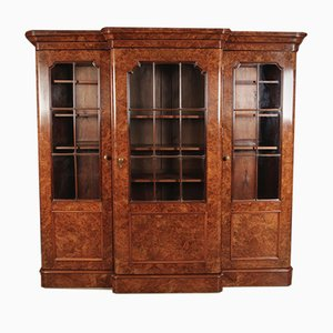 Antique Burr Walnut Breakfront Glazed Bookcase