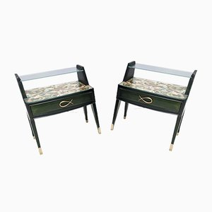Vintage Italian Fifties Style Dark Green Wood Nightstands, Set of 2