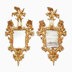 Antike Französische Spiegel mit Vergoldetem Holzrahmen, 2er Set