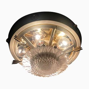 Lacquered Ceiling Lamp in Brass and Crystal Glass