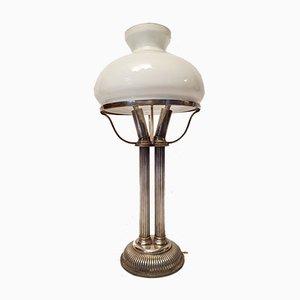 Art Deco White Opaline Glass Corinthian Column Lamp, 1930s