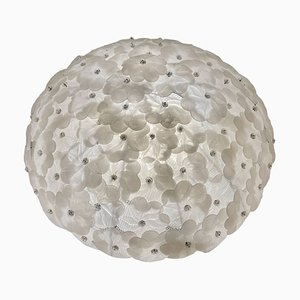 Große Florale Murano Glas Deckenlampe von Seguso