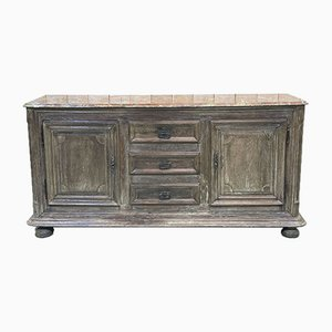 Oak & Imitation Marble Sideboard