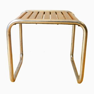 Bauhaus Style Tubular Steel Stool with Wooden Slats