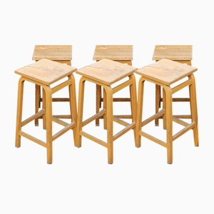 Oak Stools, 1940s, Set of 6