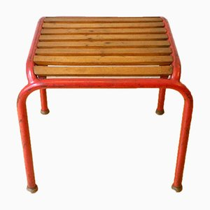 Vintage Tubular Steel Stool in the Style of Max Fellerer and Eugen Worle