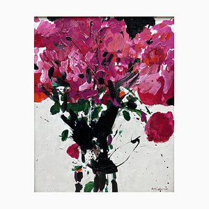 Peinture Originale Oskar Koller, Fleurs d'Eté Rose