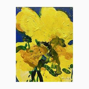 Peinture Originale Oskar Koller, Fleurs Jaunes