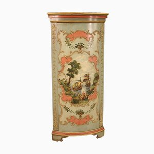 Large Lacquered & Painted Corner Cabinet, 20th Century
