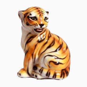Tigro, Tigre vintage in ceramica di Ceramiche di Bassano, Italia, anni '70