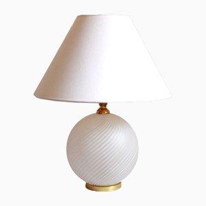 Italian Swirl Murano Glass Bianca Table Lamp, 1970s