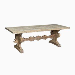 Großer antiker französischer Bauerntisch auf Böcken
