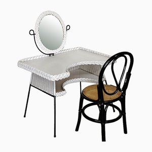 Metal and Woven Rattan Dressing Table and Cane Chair, France, 1950s