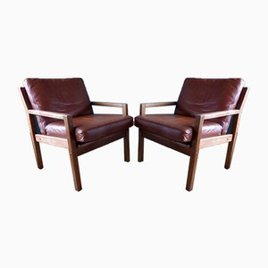 Danish Oak Armchairs with Fawn Leather Cushions, 1960s, Set of 2