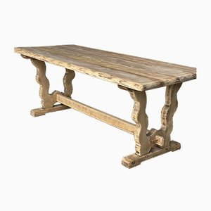 Antique French Trestle End Farmhouse Dining Table