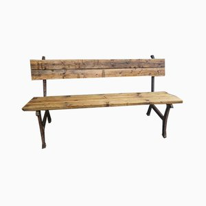 Vintage Cast Iron & Pine Beam Garden Bench
