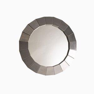 Specchio da parete rotondo in acciaio, Spagna, anni '70