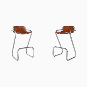 French Les Arcs Resort Bar Stools by Charlotte Perriand, 1960s, Set of 2