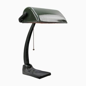 Lampe de Bureau de Banquier Vintage en Email Vert