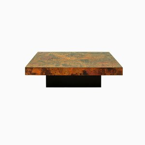 Large German Etched & Fire-Oxidized Copper Coffee Table by Bernhard Rohne, 1966